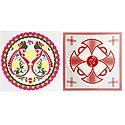 Set of Two Colorful Ritual Print on Transparent Sheet Sticker