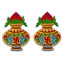 Pair of Glazed Paper Kalash Sticker with Swastika Print