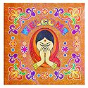 Colorful Welcome Design Sticker Rangoli on Glazed Paper