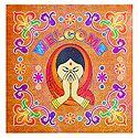 Colorful Welcome Design Sticker Rangoli on Glazed Paper