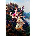 Saraswati - Raja Ravi Varma Reprint - Unframed