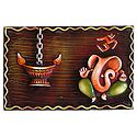 Lord Ganesha with Om and Diya on a Wooden Board - Wall Hanging