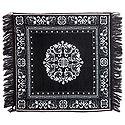 White Weaved Design on Black Cotton Ritual Mat
