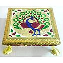 Meenakari Peacock Design Rectangle Ritual Seat