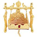 White Metal Carving Golden Jhula for Deity