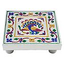 Multicolor Peacock Design Square Ritual Seat
