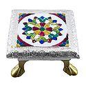 Rectangle Ritual Seat With Meenakari Flower Design on Metal Foil Paper