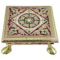 Flower Design on Wood Ritual Seat Wrapped with Metal Foil