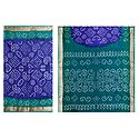 Blue Bandhni Cotton Saree with Cyan Green Border and Pallu