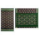 Ikkat Design on Black Cotton Saree with Green Border and Pallu