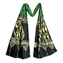 Yellow, Black and White Batik on Green Cotton Scarf