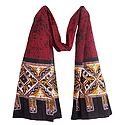 Black, Yellow and White Batik on Red Cotton Scarf