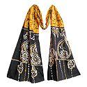 Black and White Batik on Yellow Batik Cotton Scarf