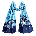 Dark Blue and White Batik on Light Cyan Batik Cotton Scarf