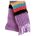 Light Mauve Scarf with Multicolor Border