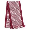 Maroon and White Hand Knitted Woollen Muffler