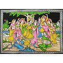 Gopinis Entertaining Radha Krishna by their Music and Dance