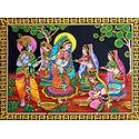 Krishna Playing Holi with Radha and Other Gopinis