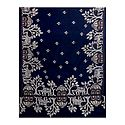 White and Saffron Kantha Embroidery on Dark Blue Cotton Stole