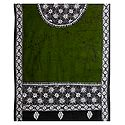 White Kantha Embroidery on Olive Green Cotton Stole
