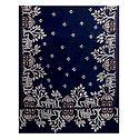 White and Saffron Kantha Embroidery on Dark Blue Cotton Stole