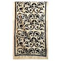 Black Kantha Embroidery on Beige Tussar Stole