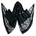 Dark Grey Orissa Cotton Stole with White Baluchari Design Pallu