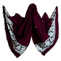 Dark Magenta Orissa Cotton Stole with Baluchari Design Pallu