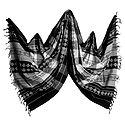 Black and White Orissa Bomkai Cotton Stole with All-Over Weaved Design
