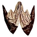Ivory Color with Dark Maroon Batik Cotton Stole