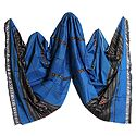 Blue Cotton Stole with Ikkat Design Pallu