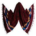Red with Cyan Stripe Orissa Bomkai Cotton Stole with Weaved Design Pallu