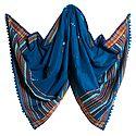 Cyan Blue Ladies Kutchi Shawl with Mirrorwork