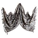 Weaved Paisley Design White with Brown Reversible Light Woolen Stole
