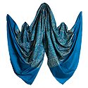 Cyan Blue Woolen Shawl with All-Over Paisley Design