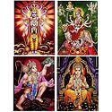 Vishnu, Rama, Hanuman, Vaishno Devi - Set of 4 Glitter Poster