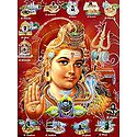 Shiva and 12 Jyotirlingas - Glitter Poster