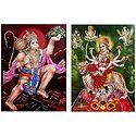 Hanuman and Vaishno Devi - Set of 2 Glitter Posters