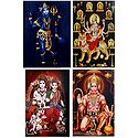 Shiva, Navadurga, Ram Darbar and Hanuman - Set of 4 Posters