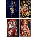 Shiva, Navadurga, Ram Darbar and Hanuman - Set of 4 Posters