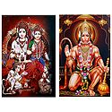 Ram Darbar and Hanuman - Set of 2 Posters