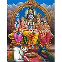 Lord Shiva Sitting on the Throne with Parvati, ganesha and Kartikeya