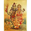 Lord Shiva, Parvati and Ganesha