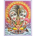 Shiva Parvati with Ganesha Performing Puja