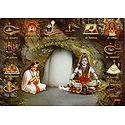 Shiva and Parvati with 12 Jyotirlingas in Front of Amarnath Ice Linga