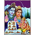 Shiva, Durga, Ganesh and Kartik with Twelve Jyotirlinga - (Laminated Poster)