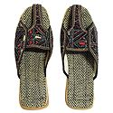 Ladies Jutti with Kantha Stitch on Black Silk Cloth and Rubber Sole