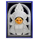 Face of Goddess Durga - Sholapith Sculpture Eacased in Glass - Wall Hanging