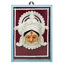Clay Face of Durga with Sholapith Decoration - Wall Hanging