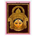 Clay Face of Durga with Paddy Decoration Encased in Glass - Wall Hanging